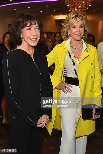 Actors Lily Tomlin and Jane Fonda attend the premiere of Netflix's Grace and Frankie at Regal Cinemas LA Live on April 29 2015 in Los Angeles...