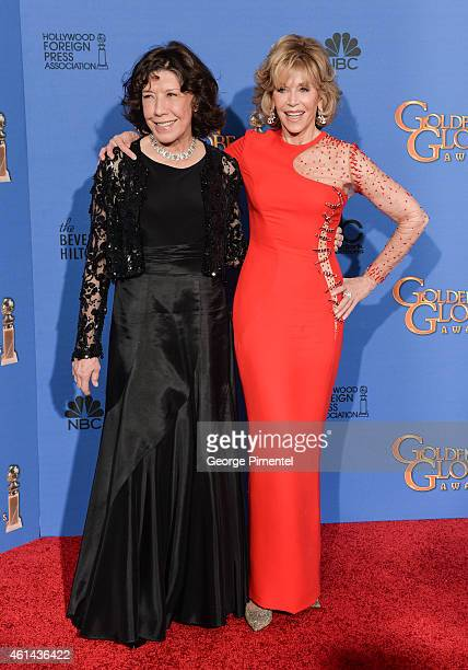 Actors Lily Tomlin and Jane Fonda pose in the press room during the 72nd Annual Golden Globe Awards at The Beverly Hilton Hotel on January 11 2015 in...