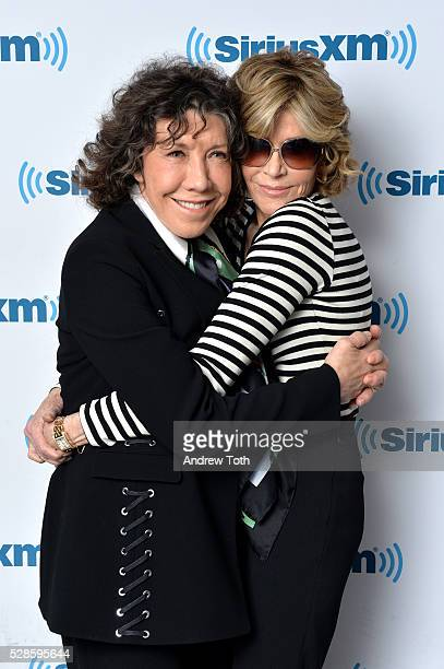 Actors Lily Tomlin and Jane Fonda visit SiriusXM on May 06 2016 in New York New York
