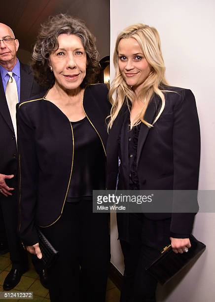 Actors Lily Tomlin and Reese Witherspoon attend The Dinner For Equality co-hosted by Patricia Arquette and Marc Benioff on February 25, 2016 in...
