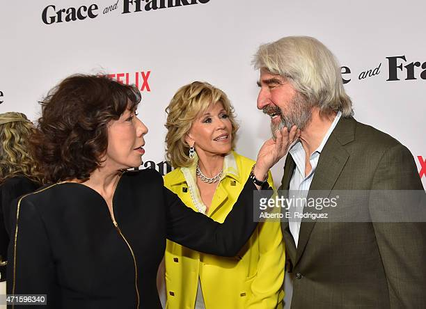 Actors Lily Tomlin Jane Fonda and Sam Waterston attend the premiere of Netflix's 'Grace and Frankie' at Regal Cinemas LA Live on April 29 2015 in Los...