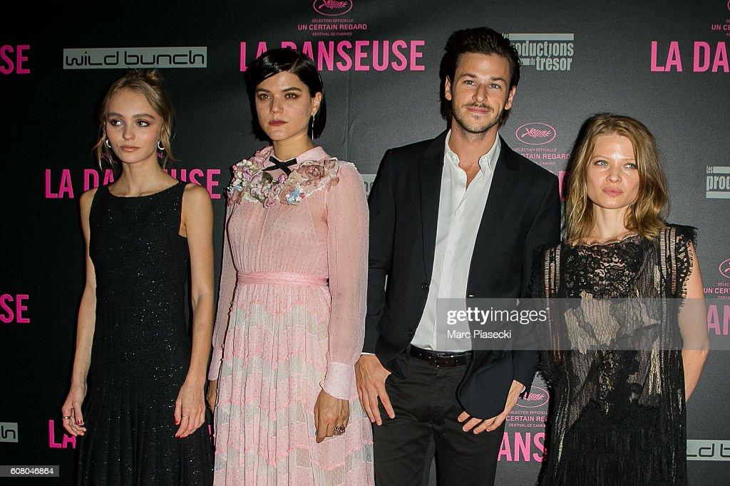 Actors Lily-Rose Depp, Stephanie Sokolinski a.k.a. SoKo, Gaspard Ulliel and Melanie Thierry attend the 'La Danseuse' Premiere at Cinema Gaumont Opera on September 19, 2016 in Paris, France.
