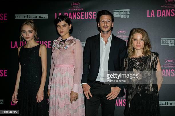 Actors LilyRose Depp Stephanie Sokolinski aka SoKo Gaspard Ulliel and Melanie Thierry attend the 'La Danseuse' Premiere at Cinema Gaumont Opera on...
