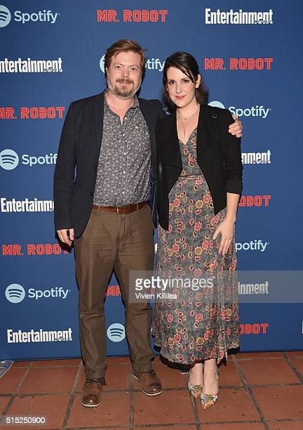 Actors Linas Phillips and Melanie Lynskey attend a dinner hosted by Entertainment Weekly celebrating Mr. Robot at the Spotify House in Austin, TX...