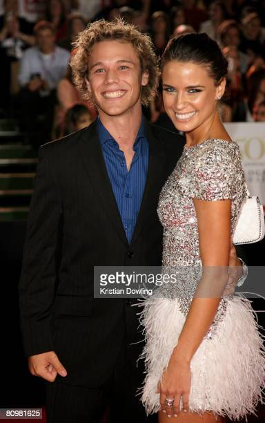Actors Lincoln Lewis and Jodi Gordon arrive on the red carpet at the 50th Annual TV Week Logie Awards at the Crown Towers Hotel and Casino on May 4...