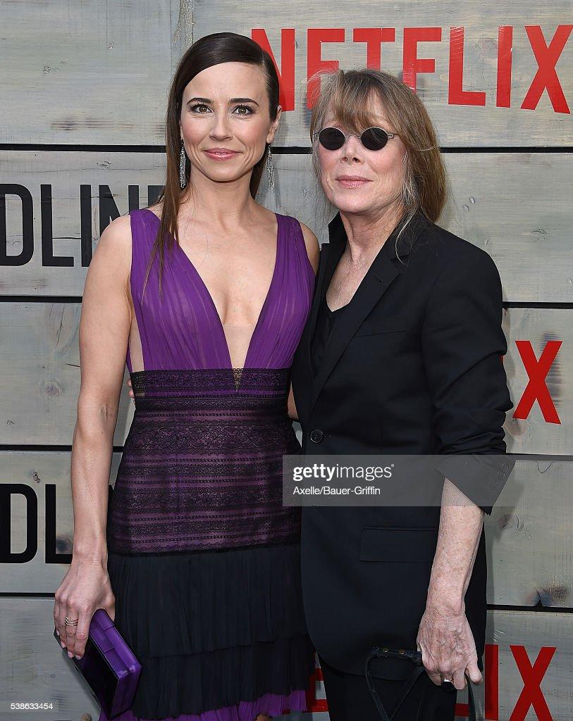 Actors Linda Cardellini and Sissy Spacek arrive at the premiere of Netflix's 'Bloodline' at Landmark Regent on May 24, 2016 in Los Angeles, California.
