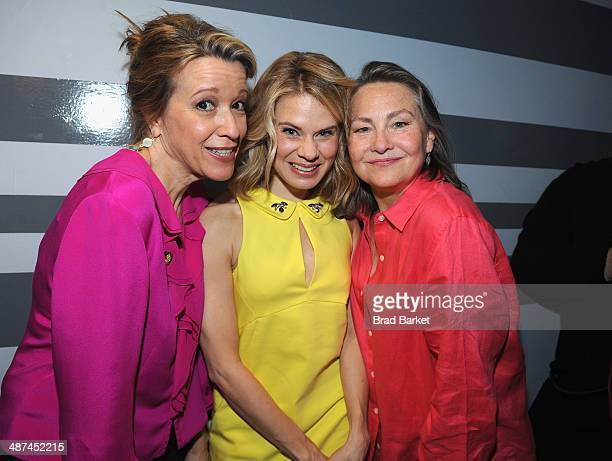 Actors Linda Emond Celia KeenanBolger and Cherry Jones attend the 2014 Tony Awards Meet The Nominees Press Reception at the Paramount Hotel on April...