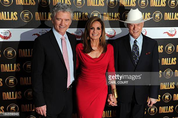 US actors Linda Gray and Patrick Duffy and Larry Hagman arrive on the red carpet to attend the launch of the new 10part series of US television show...