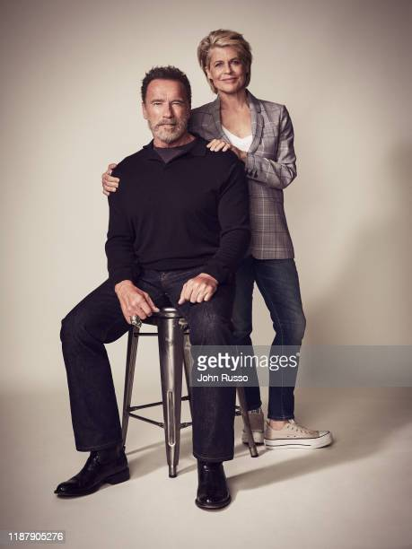 Actors Linda Hamilton and Arnold Schwarzenegger are photographed for 20th Century Fox on July 17 2019 in Los Angeles California