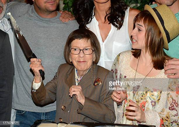 Actors Linda Hunt and Renee Felice Smith attend the CBS' NCIS Los Angeles celebrates the filming of their 100th episode held at Paramount Studios on...