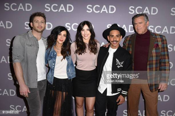 Actors Lindsay Farris Dana DeLorenzo Arielle CarverO'Neill Ray Santiago and Bruce Campbell attend a press junket for 'Ash vs Evil Dead'' on Day 2 of...