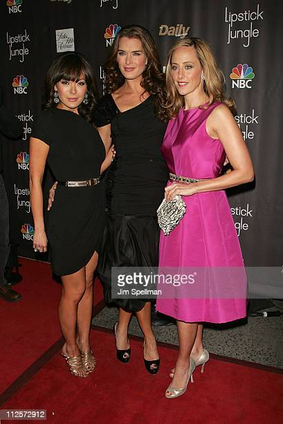 Actors Lindsay Price Brooke Shields and Kim Raver arrive at the Lipstick Jungle Premiere at Saks Fifth Avenue on January 31 2008 in New York City