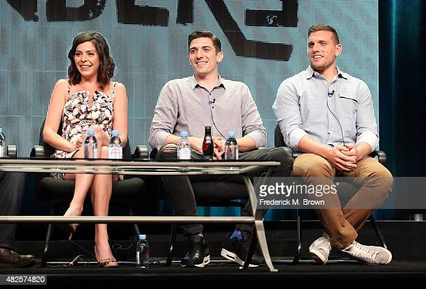 Actors Lindsey Broad Andrew Schulz and Chris Distefano speak onstage during the 'Benders' panel discussion at the AMC/IFC Networks portion of the...