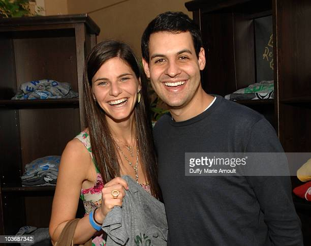Actors Lindsey Kraft and Andrew Leeds pose at Retro Sport booth during Kari Feinstein Primetime Emmy Awards Style Lounge Day 2 held at Montage...