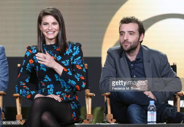 Actors Lindsey Kraft and David Krumholtz of the television show Living Biblically speak onstage during the CBS/Showtime portion of the 2018 Winter...