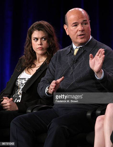 Actors Lindsey Shaw and Larry Miller speak onstage at the ABC '10 Things I Hate About You' QA portion of the 2010 Winter TCA Tour day 4 at the...