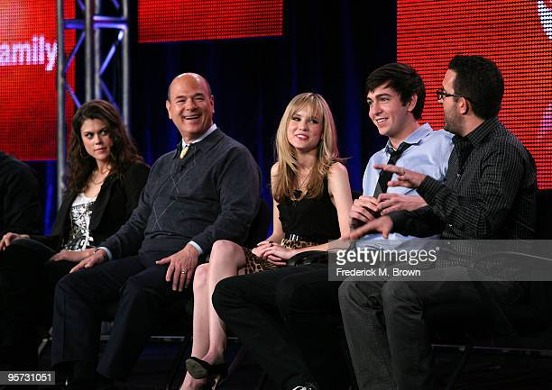 Actors Lindsey Shaw Larry Miller Meaghan Martin Nicholas Braun and executive producer Carter Covington speak onstage at the ABC '10 Things I Hate...
