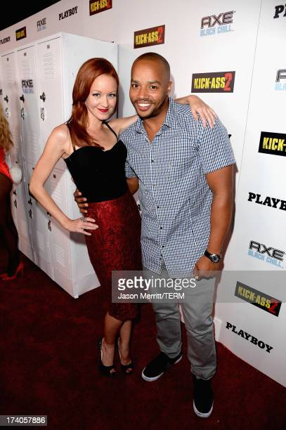 Actors Lindy Booth and Donald Faison arrive at the Playboy and Universal Pictures' 'KickAss 2' event at ComicCon sponsored by AXE Black Chill on July...