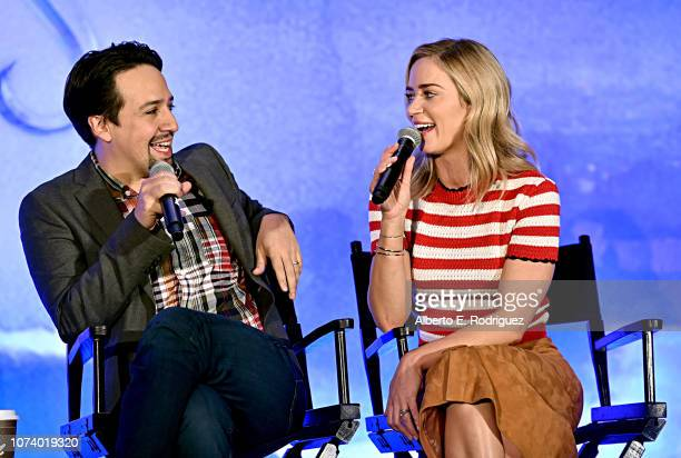 Actors LinManuel Miranda and Emily Blunt onstage during Disney's Mary Poppins Returns press conference at the Montage Beverly Hills on November 28...