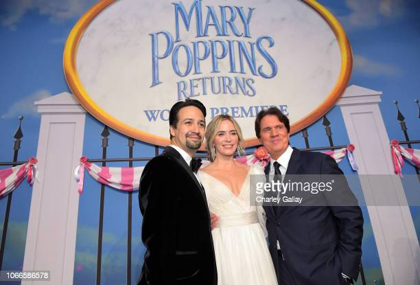 Actors LinManuel Miranda Emily Blunt and Director/producer Rob Marshall attend Disney's 'Mary Poppins Returns' World Premiere at the Dolby Theatre on...
