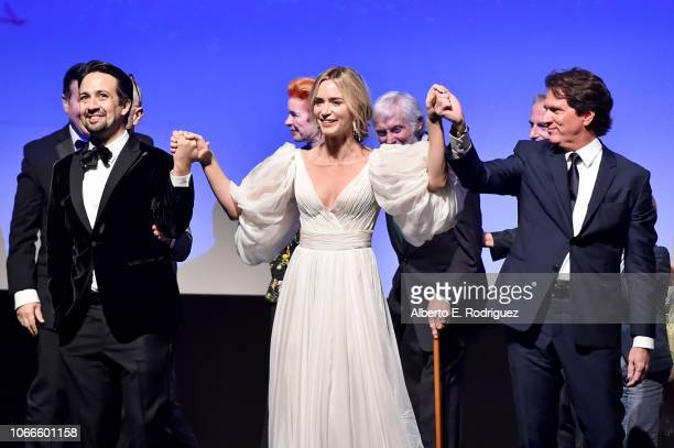 Actors LinManuel Miranda Emily Blunt and Director/producer Rob Marshall onstage during Disney's 'Mary Poppins Returns' World Premiere at the Dolby...