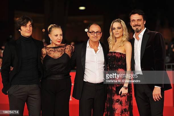 Actors Lino Guanciale Iaia Forte director Pappi Corsicato Laura Chiatti and Alessandro Preziosi attend the 'Il Volto Di Un'Altra' Premiere during the...