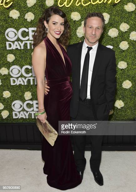 Actors Linsey Godfrey and Breckin Meyer attend the CBS Daytime Emmy After Party at Pasadena Convention Center on April 29 2018 in Pasadena California