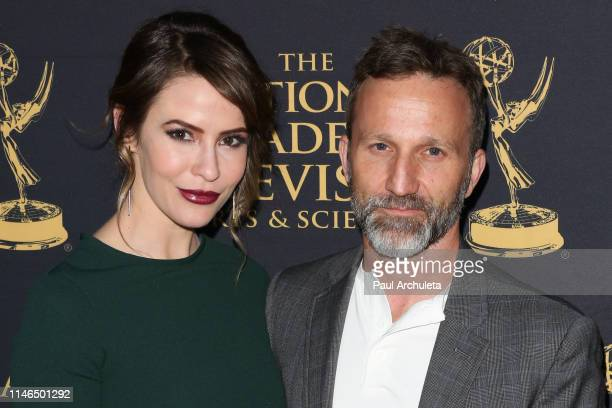 Actors Linsey Godfrey and Breckin Meyer attends the 2019 Daytime Emmy Awards nominee reception at Castle Green on May 01 2019 in Pasadena California