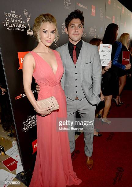 Actors Linsey Godfrey and Robert Adamson attend the 40th Annual Daytime Emmy Awards at the Beverly Hilton Hotel on June 16, 2013 in Beverly Hills,...