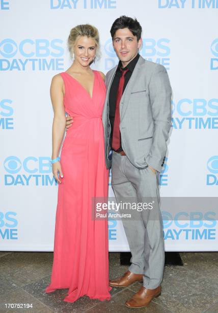 Actors Linsey Godfrey and Robert Adamson attend the 40th Annual Daytime Emmy Awards after party at The Beverly Hilton Hotel on June 16, 2013 in...