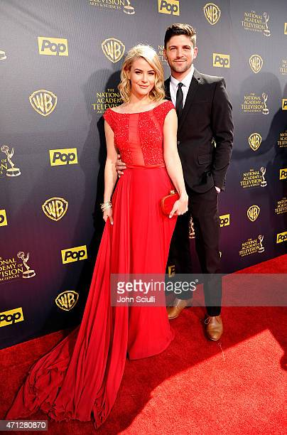 Actors Linsey Godfrey and Robert Adamson attend The 42nd Annual Daytime Emmy Awards at Warner Bros Studios on April 26 2015 in Burbank California