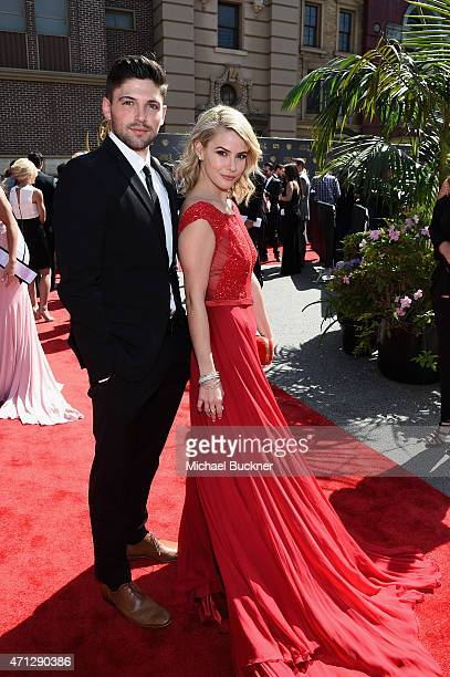 Actors Linsey Godfrey and Robert Adamson attend The 42nd Annual Daytime Emmy Awards at Warner Bros. Studios on April 26, 2015 in Burbank, California.