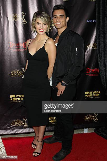 Actors Linsey Godfrey and Robert Adamson attends the 2016 Daytime Emmy Awards Nominees Reception Arrivals at The Hollywood Museum on April 27 2016 in...