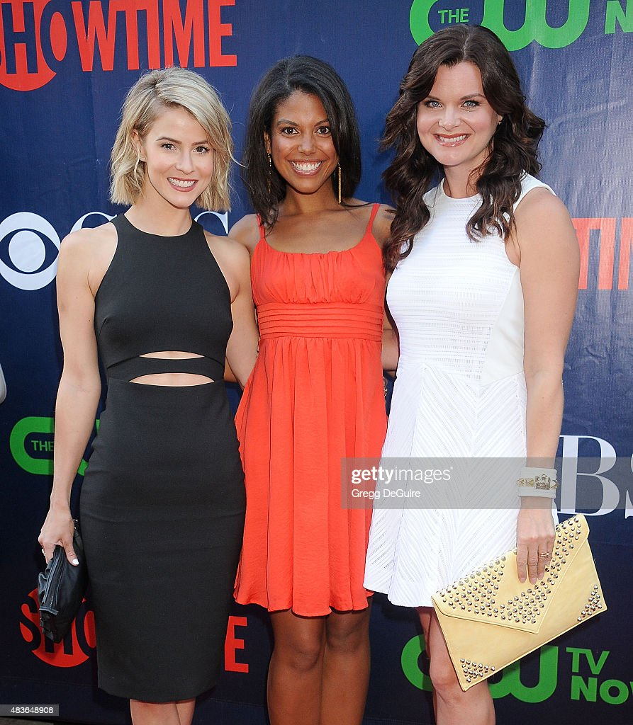 Actors Linsey Godfrey, Karla Mosley and Heather Tom arrive at the CBS, CW And Showtime 2015 Summer TCA Party at Pacific Design Center on August 10, 2015 in West Hollywood, California.