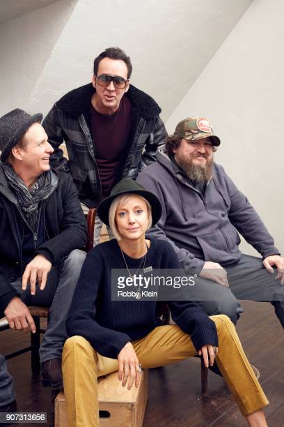 Actors Linus Roache Nicolas Cage Andrea Riseborough and Director Panos Cosmatos from the film 'Mandy' pose for a portrait in the YouTube x Getty...