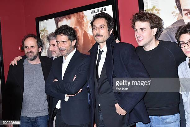 Actors Lionel Abelanski Dan Herzberg Pascal Elbe Vincent Elbaz Ludovik Day and Leo Elbe attend 'Je Compte Sur Vous' Premiere at Publicis Cinema on...