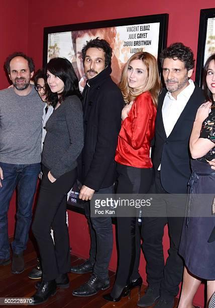 actors Lionel Abelanski Leo Elbe Zabou Breitman Vincent Elbaz Julie Gayet Pascal Elbe attend 'Je Compte Sur Vous' Premiere at Publicis Cinema on...