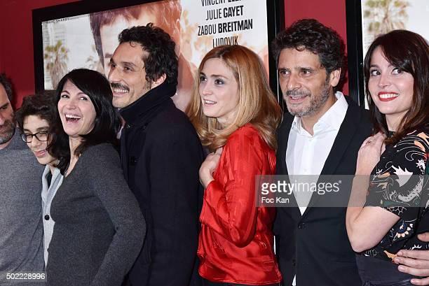actors Lionel Abelanski Leo Elbe Zabou Breitman Vincent Elbaz Julie Gayet director Pascal Elbe and Anne Charrier attend 'Je Compte Sur Vous' Premiere...