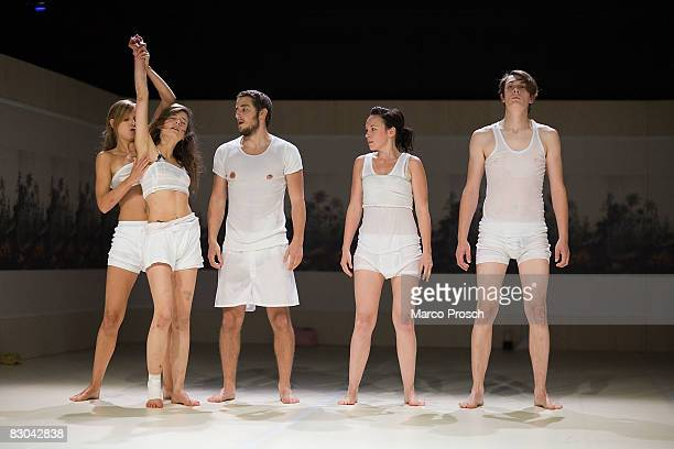 Actors Lisa Bitter Ines Schiller Bastian Reiber Stefanie Roesner Benjamin Schaup perform at the rehearsal of 'Feuchtgebiete' based on the book by...