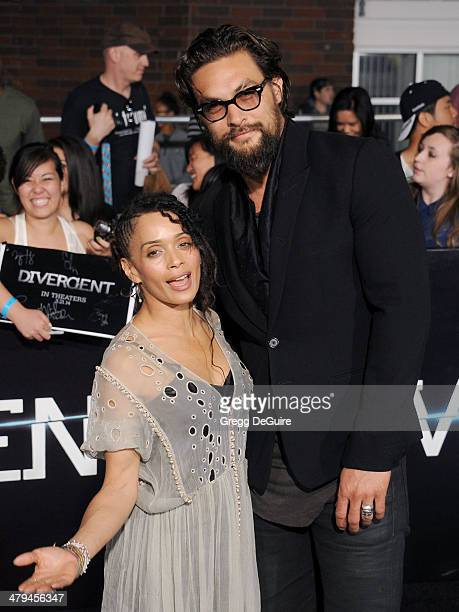 Actors Lisa Bonet and Jason Momoa arrive at the Los Angeles premiere of 'Divergent' at Regency Bruin Theatre on March 18 2014 in Los Angeles...