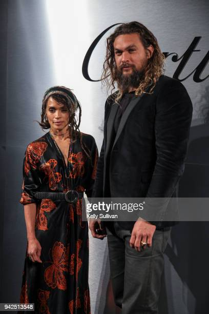 Actors Lisa Bonet and Jason Momoa arrive on the red carpet for the Santos de Cartier Watch Launch at Pier 48 on April 5 2018 in San Francisco...