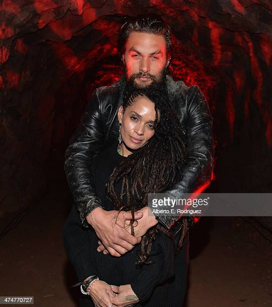 Actors Lisa Bonet and Jason Momoa attend a screening of Sundance Channel's The Red Road at The Bronson Caves at Griffith Park on February 24 2014 in...
