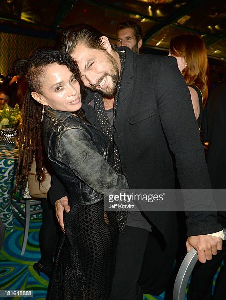 Actors Lisa Bonet and Jason Momoa attend HBO's official Emmy after party in The Plaza at the Pacific Design Center on September 22 2013 in Los...