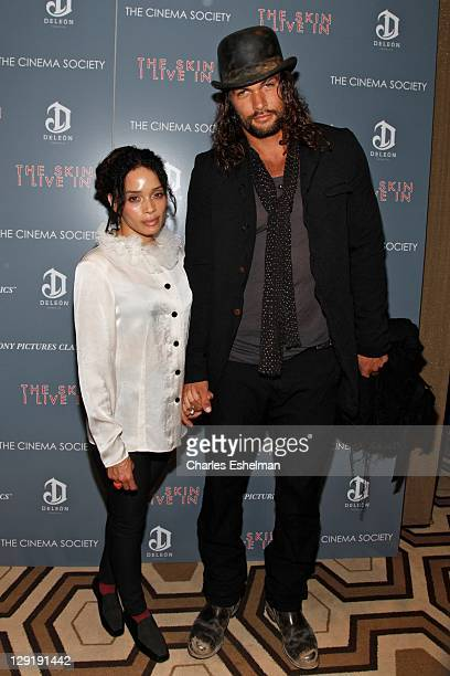 Actors Lisa Bonet and Jason Momoa attend The Cinema Society DeLeon Tequila screening of 'The Skin I Live In' at the Tribeca Grand Screening Room on...