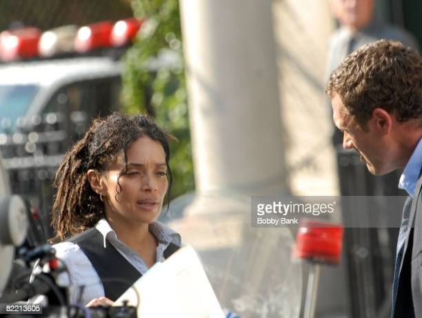 "Actors Lisa Bonet and Jason O'Mara on location for ""Life On Mars"" on August 7, 2008 in the Brooklyn Borough of New York City."