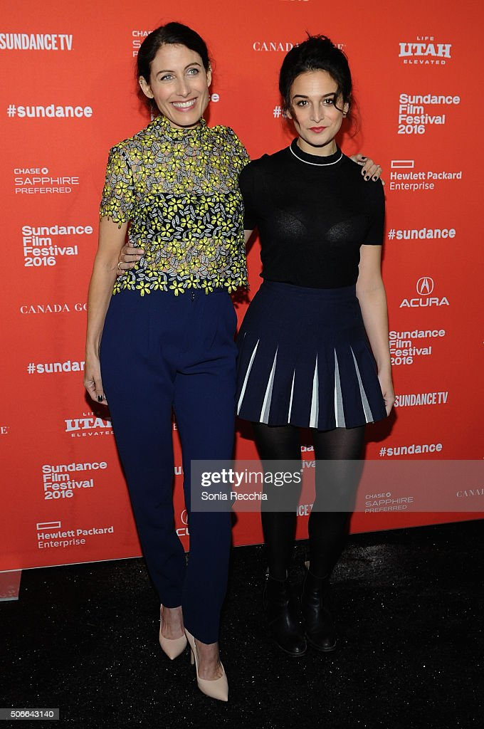 Actors Lisa Edelstein (L) and Jenny Slate attend the 'Joshy' Premiere during the 2016 Sundance Film Festival at Library Center Theater on January 24, 2016 in Park City, Utah.