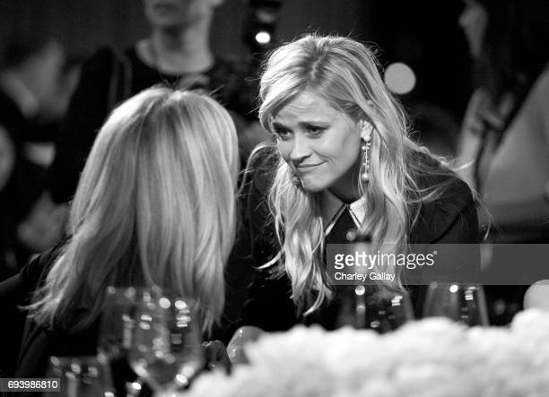 Image has been shot in black and white Color version not available Actors Lisa Kudrow and Reese Witherspoon during American Film Institute's 45th...