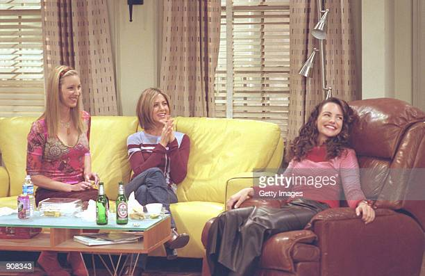 Actors Lisa Kudrow as Phoebe Buffay Jennifer Aniston as Rachel Green Kristin Davis as Erin star in NBC's comedy series Friends episode The One With...