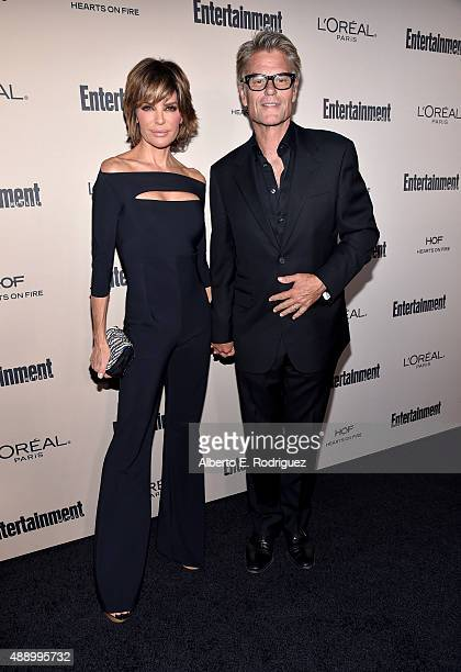 Actors Lisa Rinna and Harry Hamlin attend the 2015 Entertainment Weekly Pre-Emmy Party at Fig & Olive Melrose Place on September 18, 2015 in West...