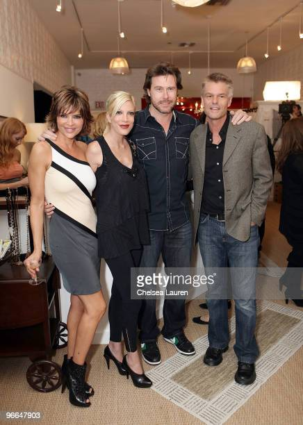 "Actors Lisa Rinna, Tori Spelling, Dean McDermott and Harry Hamlin attend the taping of TV Land docu-soap ""Harry Loves Lisa"" at Belle Gray Boutique's..."
